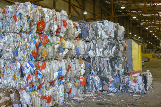 Bales of plastic at a recycling center
