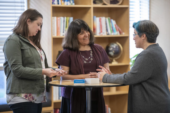Laura Dominguez Chan, center, a 2019 Amy J. Blue Award recipient, works with Colleen McCallion, left, and Margot Gilliland.