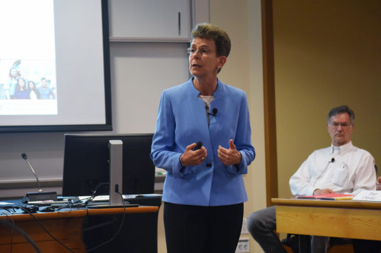 Patricia Gumport, vice provost for graduate education and postdoctoral affairs, speaking at Faculty Senate meeting of April 25, 2019.