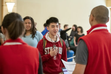 Daniel Ma of Stony Brook, New York, was one of the first students to check in for Admit Weekend at the Arrillaga Alumni Center.