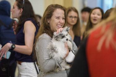 Samantha Churovich of Champaign-Urbana, Illinois, brought along her puppy, Teddy.