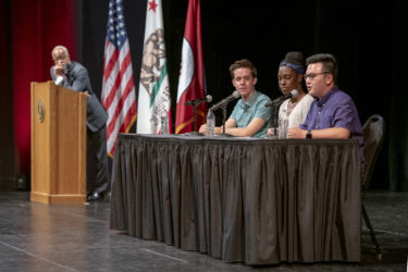 A student panel answers questions during the University Welcome at Memorial Auditorium.