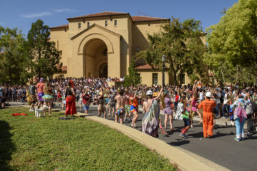 The Stanford Band gives its signature welcome to the prospective students.