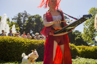 A member of the Leland Stanford, Jr. University Marching Band adds glockenspiel to the musical melée.