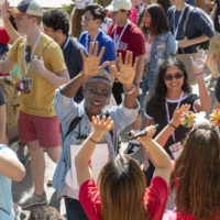 Admits are welcomed on the way into Frost Amphitheater on Thursday afternoon.