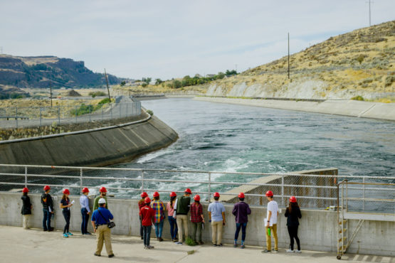 Students standing on the Grand Coulee Dam
