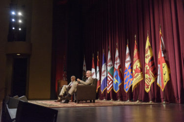Vice Provost Harry Elam and President Marc Tessier-Lavigne join in conversation at Memorial Auditorium.