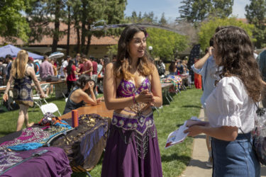 Undergrad Andrea Ocampo of Akasma Belly Dance meets with ProFros to let them know about the competitive dance group.