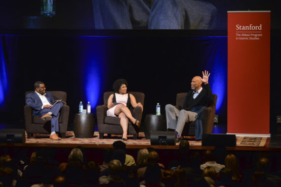 Jefferson, Morgan and Abdul-Jabbar on stage.