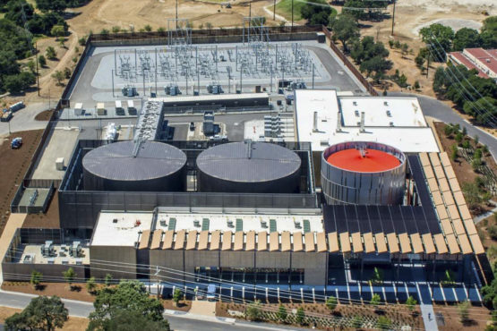 At Stanford's Central Energy Facility, the two larger tanks hold chilled water and the smaller tank holds hot water.
