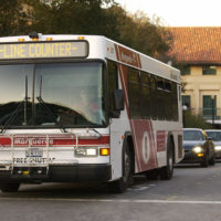 Marguerite shuttle bus on campus