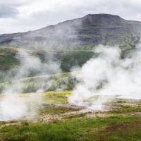 Steam rising through rock