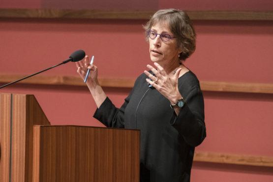 Debra Satz at the lectern
