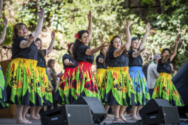 A colorful group of dancers from Stanford Hula