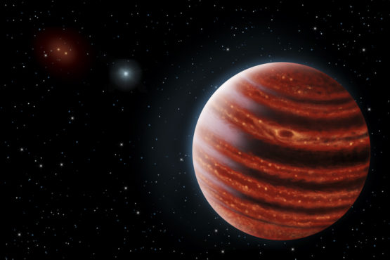Artist's conception portrays exoplanet 51 Eri b seen in near-infrared light, which shows the hot layers deep in its atmosphere glowing through clouds.