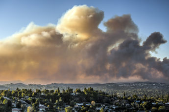 The November 2018 Woolsey fire seen from Topanga, California.