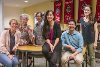 Approaching Stanford staffers: Diane Suedbeck, Sally Mentzer, Alice Petty, Edith Wu, Niles Wilson, Anna Stone