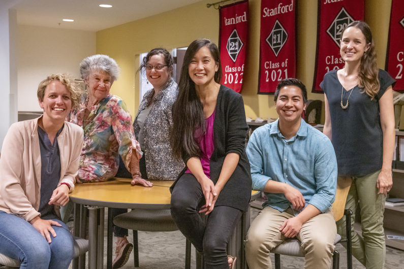 Approaching Stanford staffers: Diane Suedbeck, Sally Mentzer, Alice Petty, Edith Wu, Niles Wilson, Anna Stone