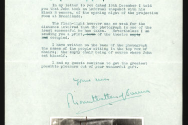 A letter from Lord Mountbatten includes a photograph of the British Royal Family