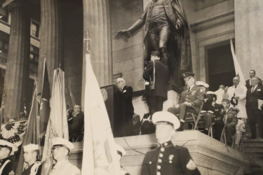 Skouras at New York's Federal Hall