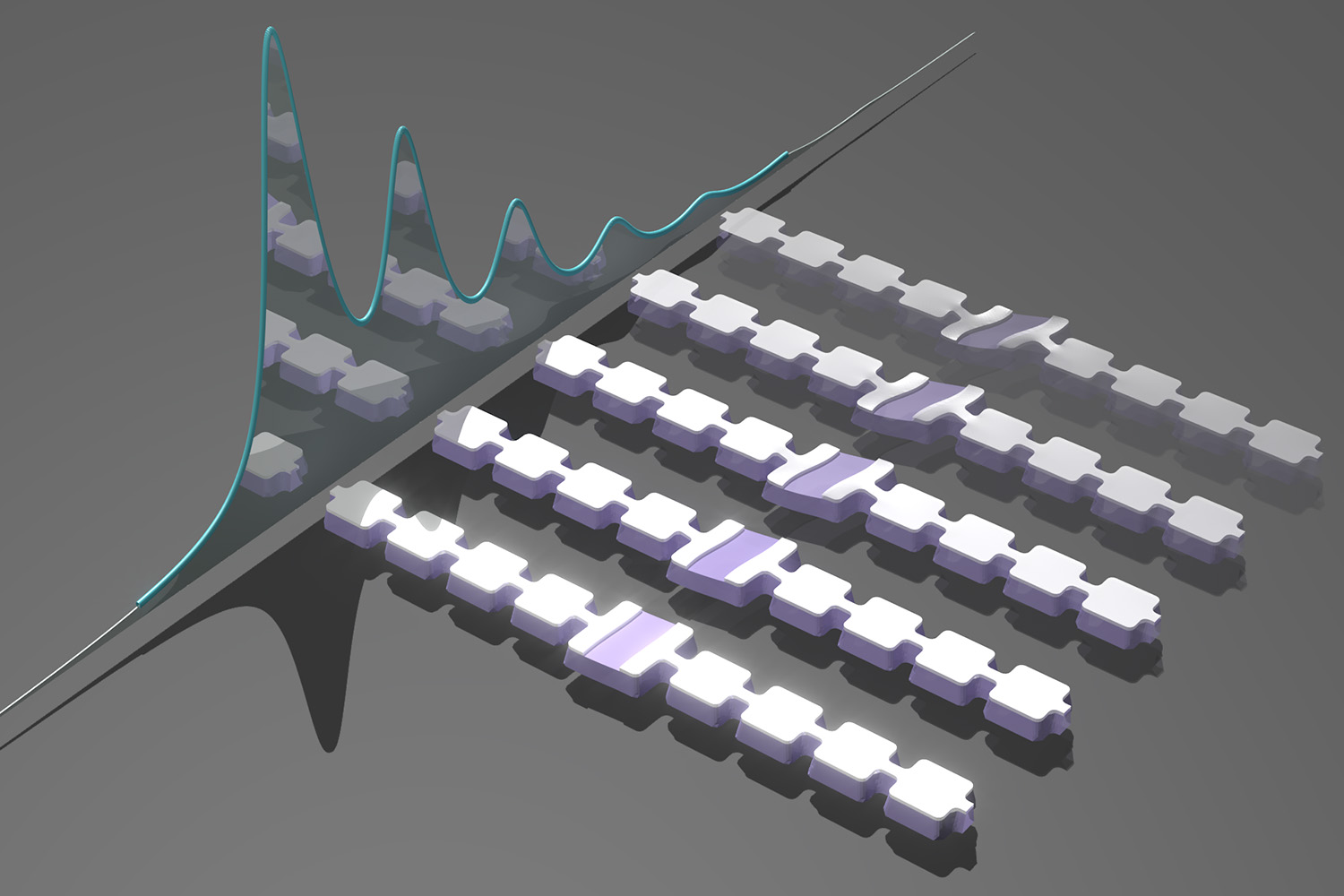 Artist's impression of an array of nanomechanical resonators designed to generate and trap sound particles, or phonons.