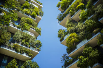 Milan high-rise with trees and shrubs