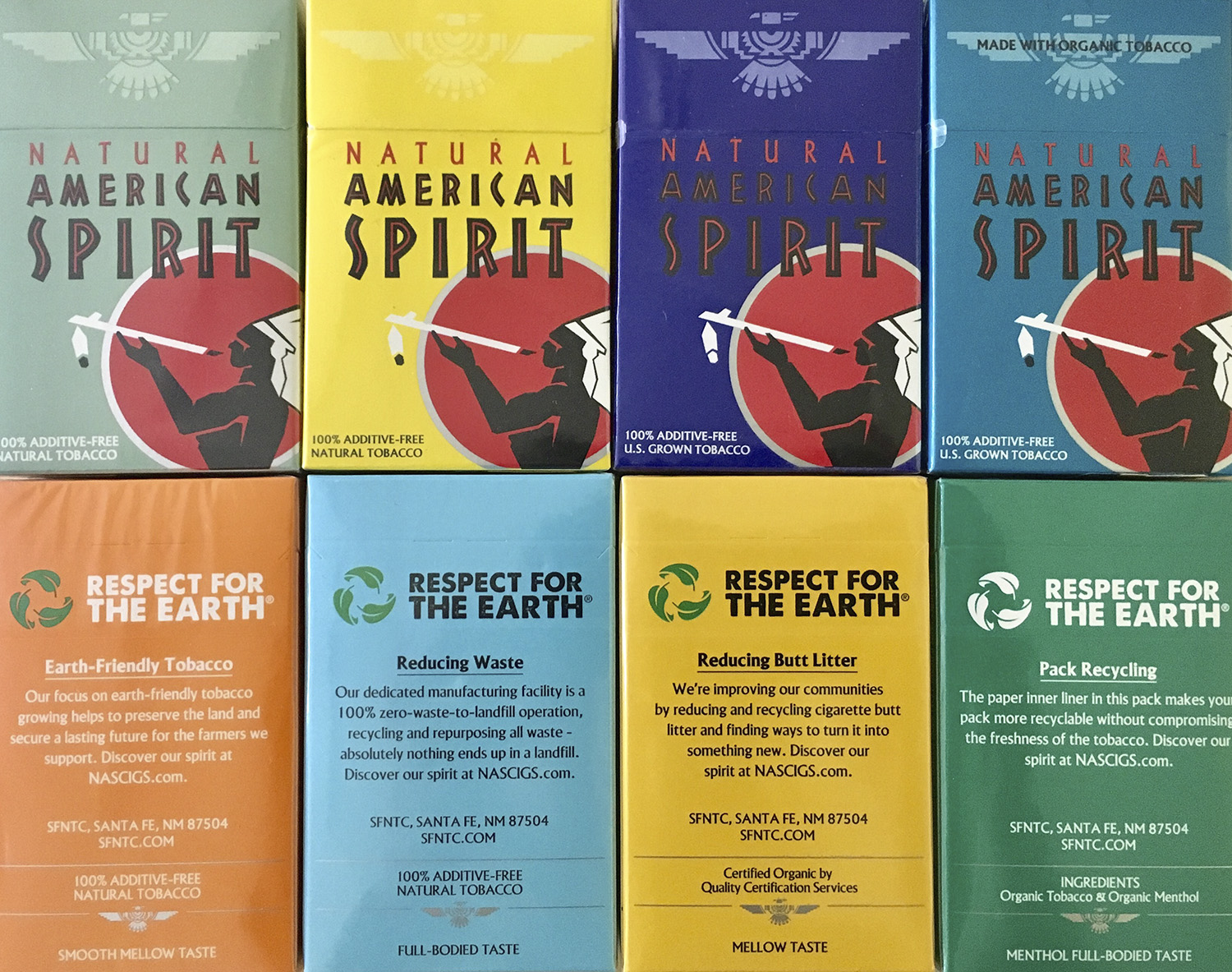 images of Natural Amercan Spirit packaging