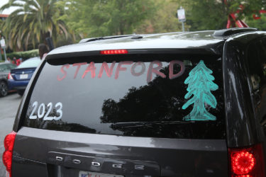 A decorated car window during New Student Orientation on September 18, 2019 in Stanford, CA.