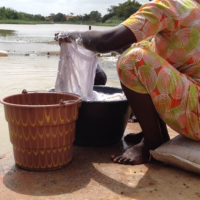 A woman washes clothes in the Senegal River.