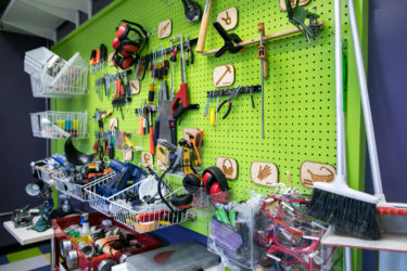 Wall of tools and supplies inside the GSE Makery