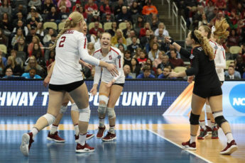 Women volleyball players celebrating
