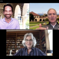Screenshot of Matthew Tiews, Marc Tessier-Lavigne and Persis Drell in an online forum