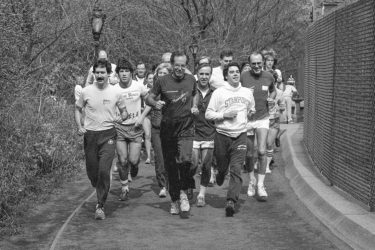 Donald Kennedy, seen here in April of 1984, was an avid runner.