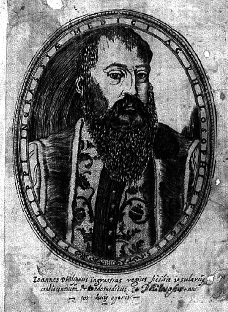 A drawn portrait of Giovanni Filippo Ingrassia, who has a long, dark beard