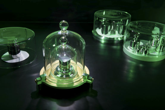 A kilogram weight under a bell jar