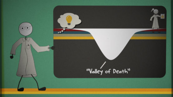 Cartoon scientist showing the valley of death