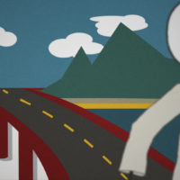 Cartoon bridge over the valley of death