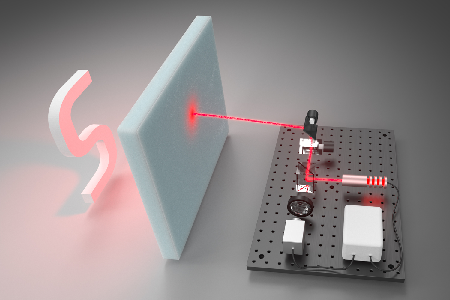 gadgetry hits foam board with red beam of light.