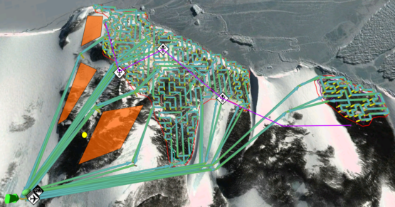 Colorful virtual lines on overlaying an image of snowy Antarctic coastline