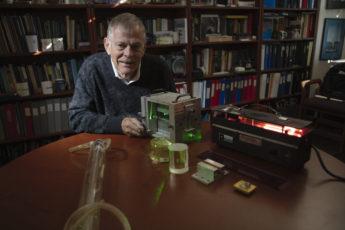Robert Byer with laser equipment