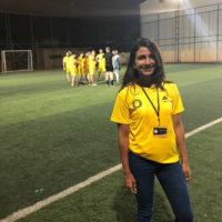 Salma Mousa on a soccer pitch