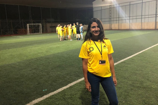 Salma Mousa on a soccer pitch