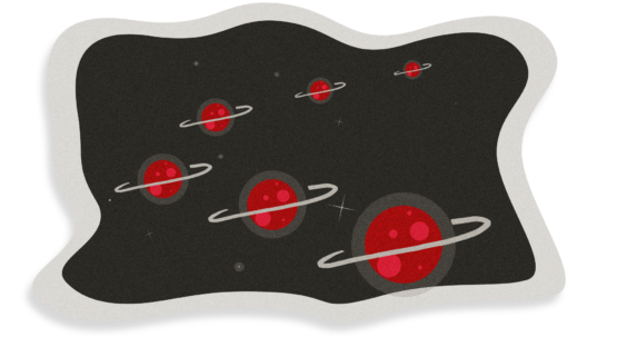 Illustration of an arc of red planets with white rings in space