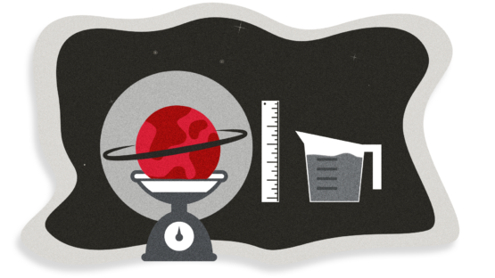 Illustration of a red planet with a black ring on a scale, next to a ruler and a measuring cup