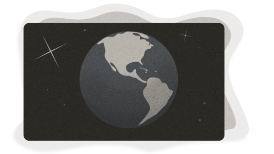 Grayscale illustration of Earth with glinting stars around it