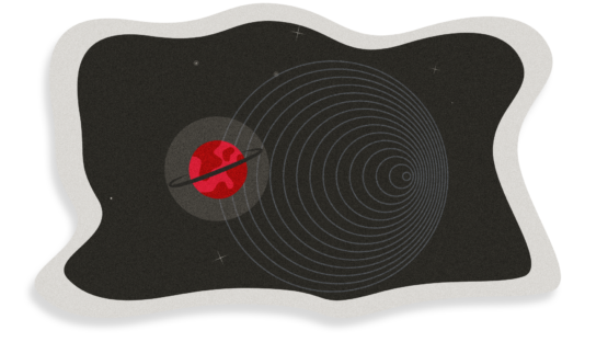 Illustration showing circular doppler waves and a red planet with a black ring