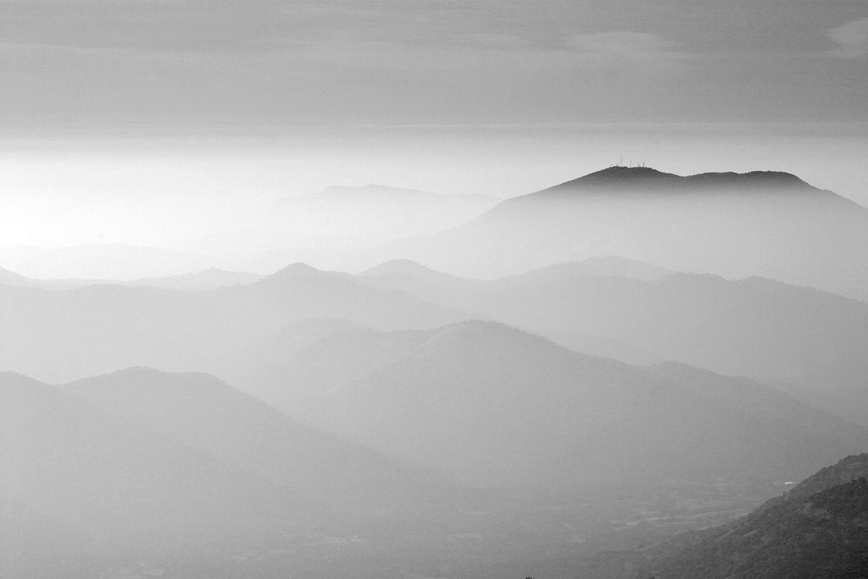 smoggy view above Fresno, California