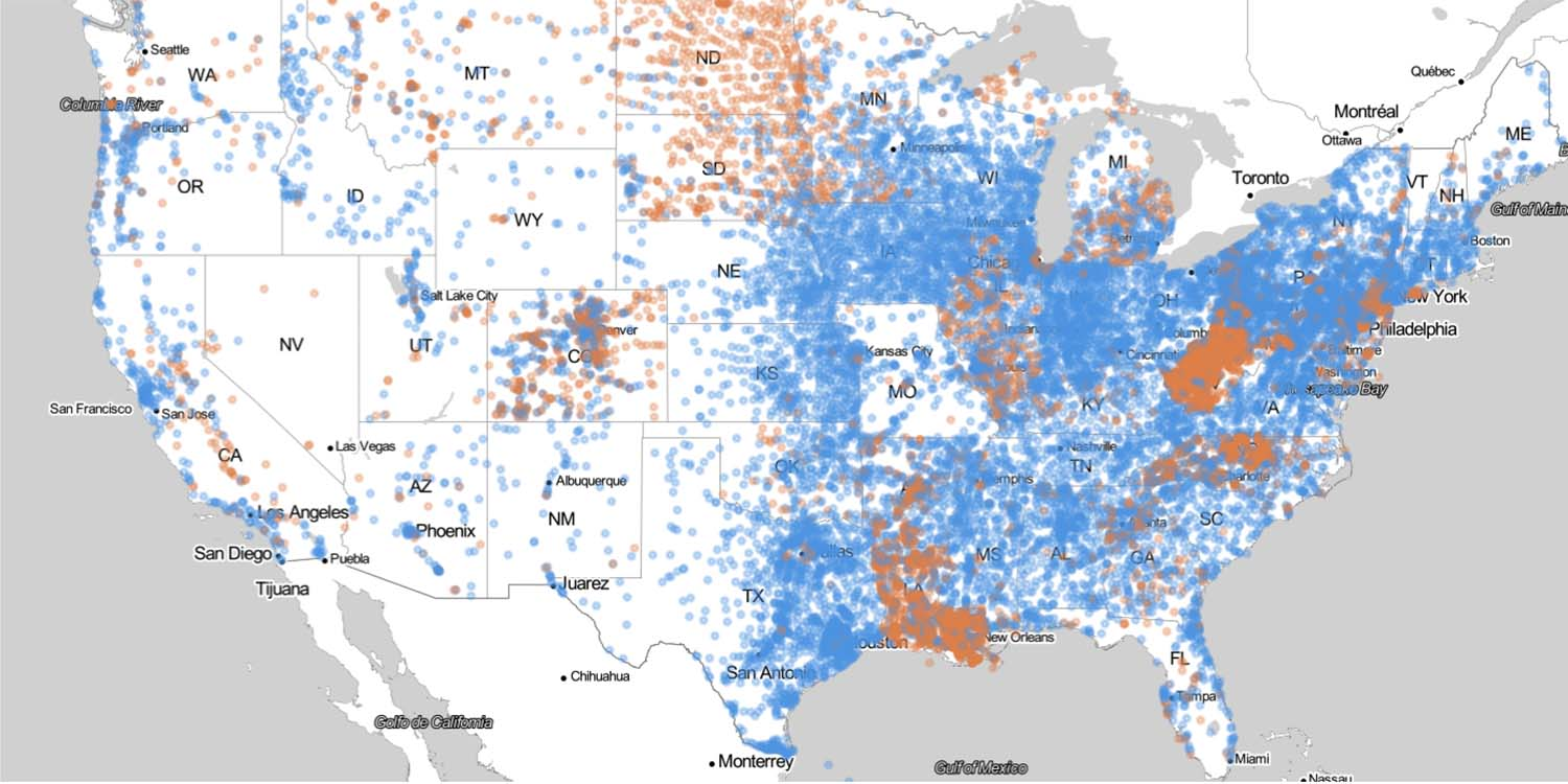 Map of U.S. wastewater treatment facilities