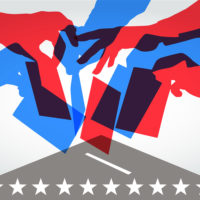 red and blue overlapping silhouettes of people voting in USA elections