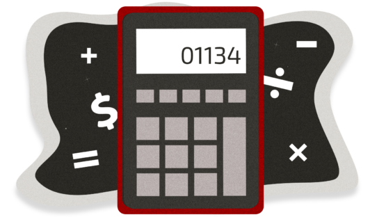 Illustration of a calculator on a background with math symbols. The calculator has the number 01134 on the screen.